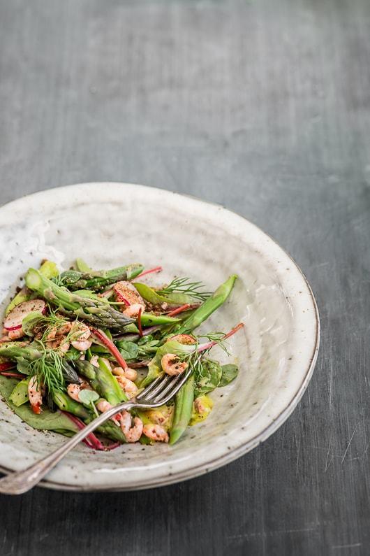 asparges salat fjordrejer