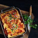 Enchiladas med oksekød, peberfrugt og bønner