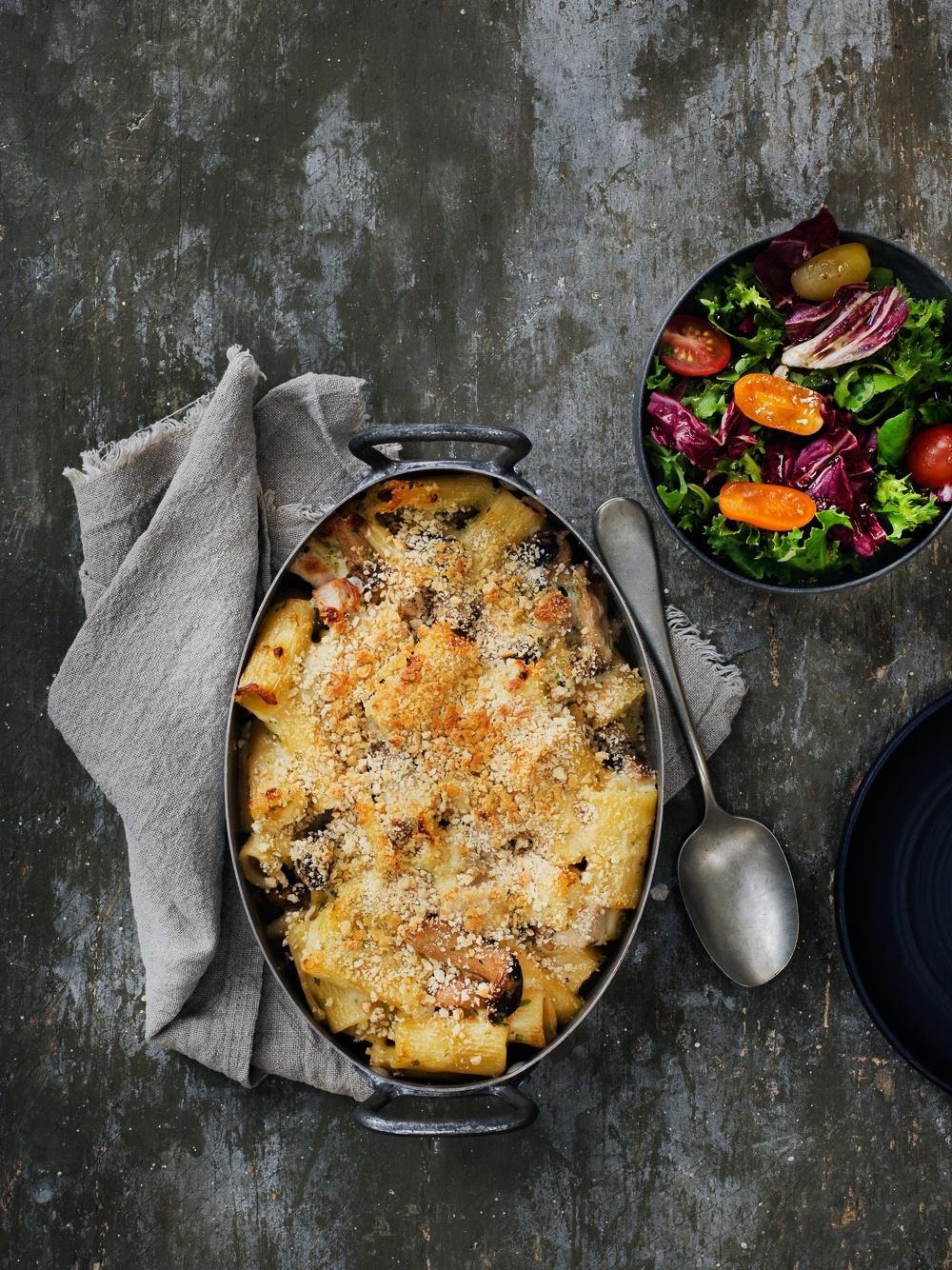 Mac and cheese med svampe og skinke - børnevenlig opskrift